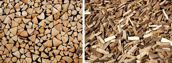 Firewood, dumped or stacked.